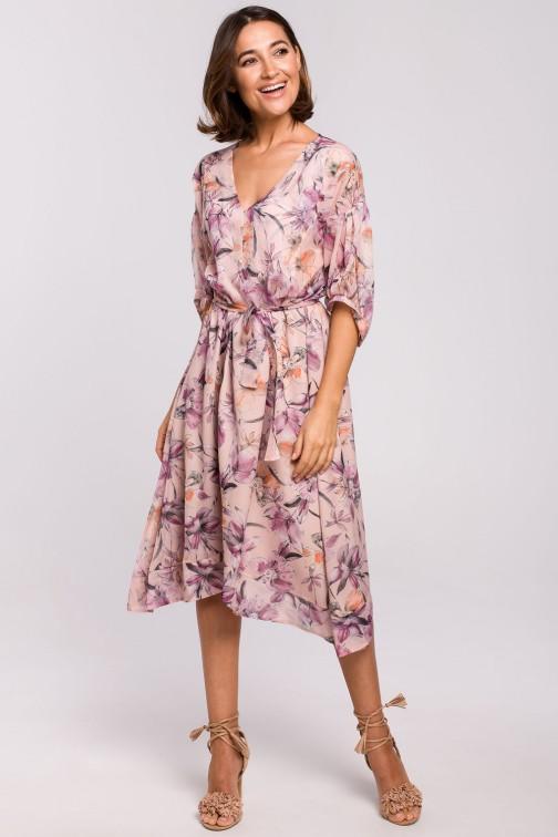 CM5327 Szyfonowa sukienka midi z asymetrycznym dołem - model 2