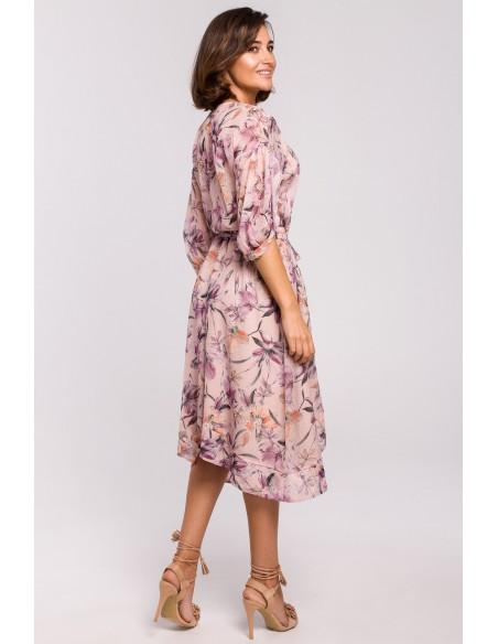Szyfonowa sukienka midi z asymetrycznym dołem - model 2