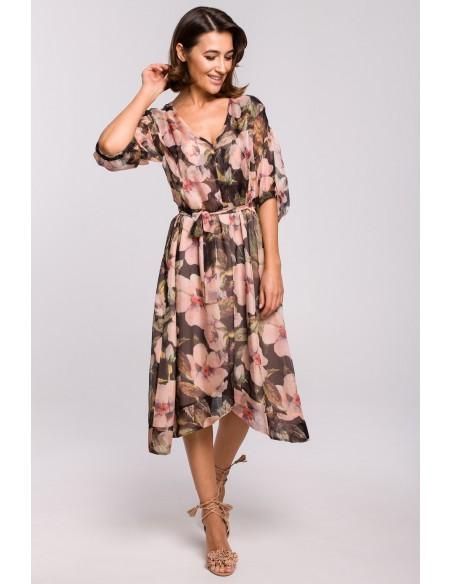 Szyfonowa sukienka midi z asymetrycznym dołem - model 3