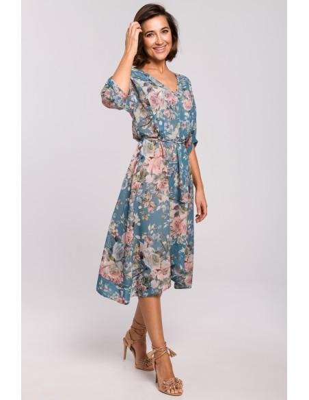 Szyfonowa sukienka midi z asymetrycznym dołem - model 4