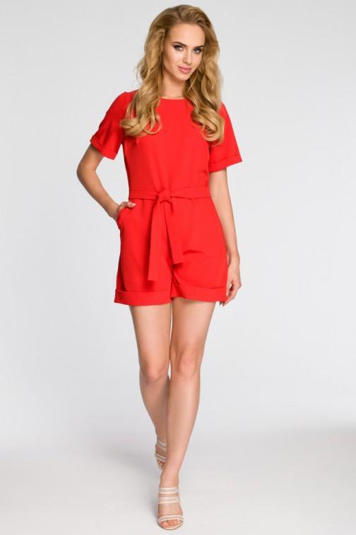 CM3051 Elegancki kombinezon z krótkim rękawem - czerwony