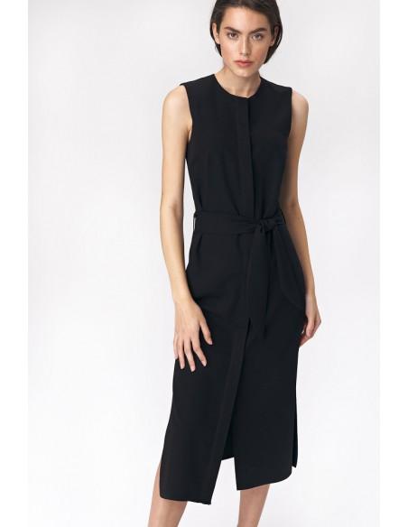 Sukienka szmizjerka midi - czarna