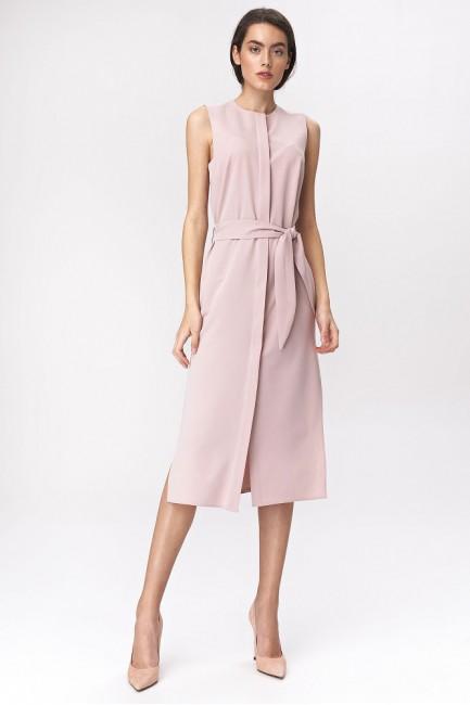 Sukienka szmizjerka midi - różowa