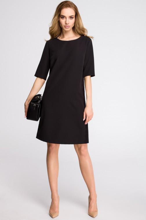 CM3623 Sukienka z lampasem z koronki - czarna