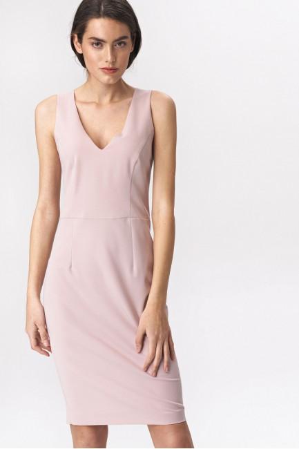 Klasyczna ołówkowa sukienka mini - różowa
