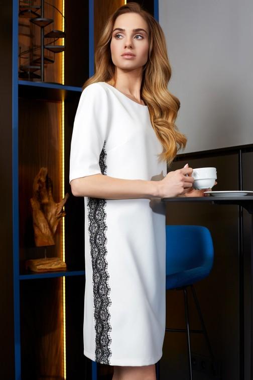 CM3623 Sukienka z lampasem z koronki - ecru