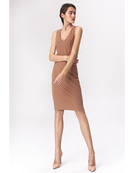 Klasyczna ołówkowa sukienka mini - karmelowa