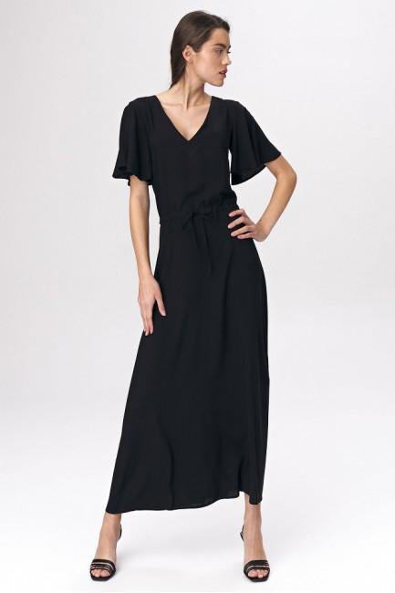 Sukienka maxi z rozkloszowanym rękawem - czarna