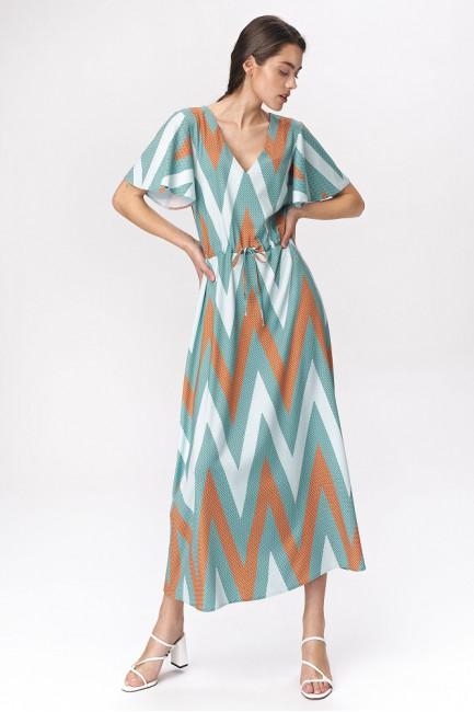 Sukienka maxi z rozkloszowanymi rękawami - zygzak