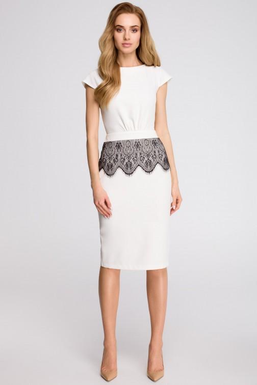 CM3624 Ołówkowa sukienka z marszczeniem - ecru