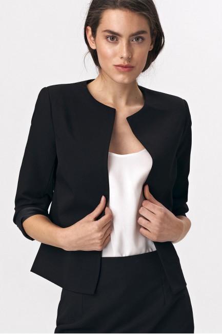 Krótki prosty żakiet - czarny