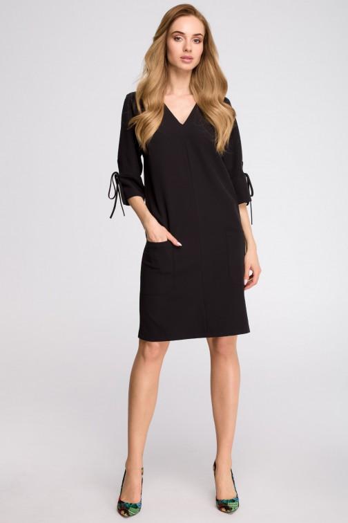 CM3627 Sukienka z kieszeniami i wiązaniem przy rękawach - czarna