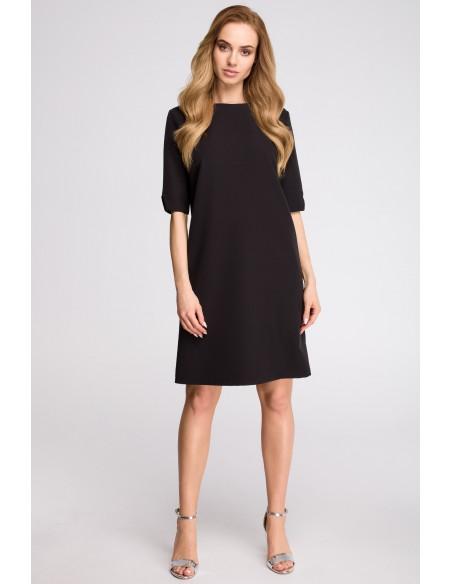 Sukienka pudełkowa z dekoltem w serek z tyłu - czarna