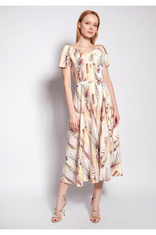 CM5362 Sukienka midi z odkrytymi ramionami - abstrakcyjne liście
