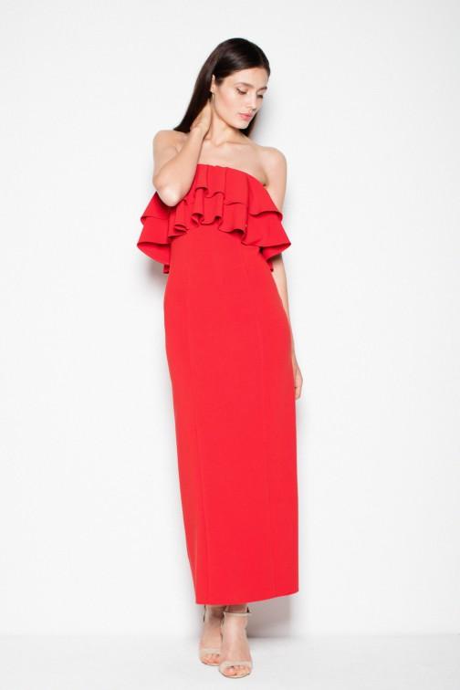 CM2993 Elegancka sukienka maxi z falbankami - czerwona