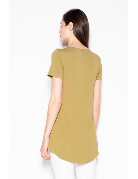 Wyjątkowa asymetryczna bluzka damska - oliwkowa