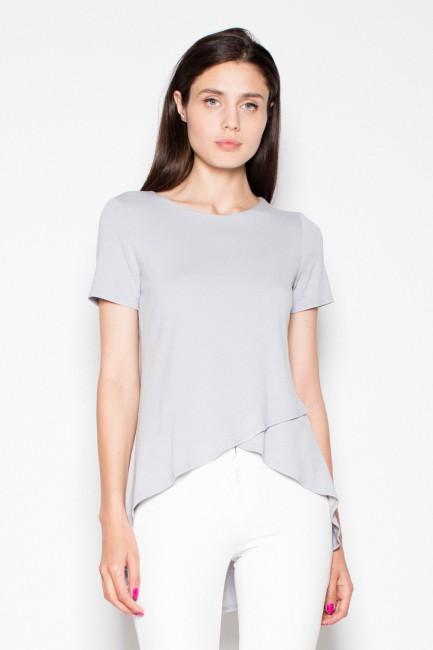 Wyjątkowa asymetryczna bluzka damska - szara