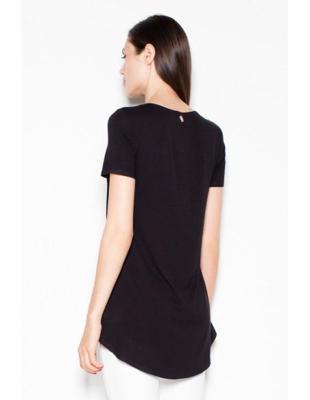 Wyjątkowa asymetryczna bluzka damska - czarna