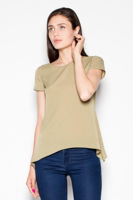 Modna bluzka damska z krótkim rękawem - oliwkowa