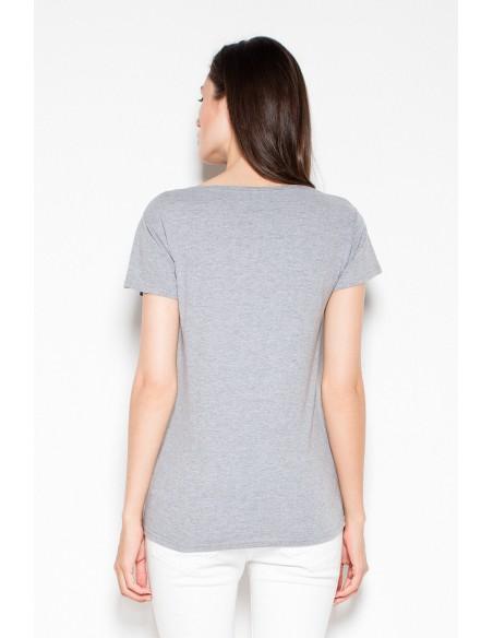 Bawełniany t-shirt z oryginalnym nadrukiem - szara