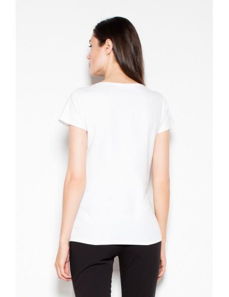Bawełniany t-shirt z oryginalnym nadrukiem - biała