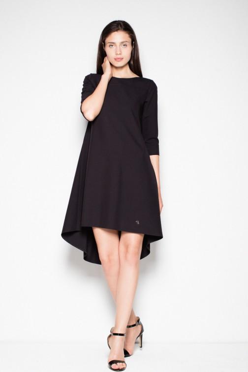 CM2978 Sukienka z asymetrycznym dołem - czarna