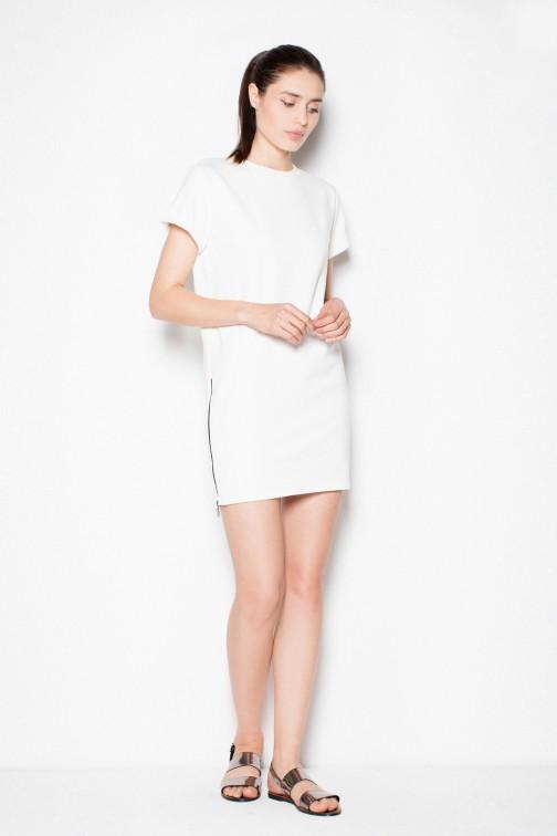 CM2975 Nowoczesna sukienka mini dresowa - ecru