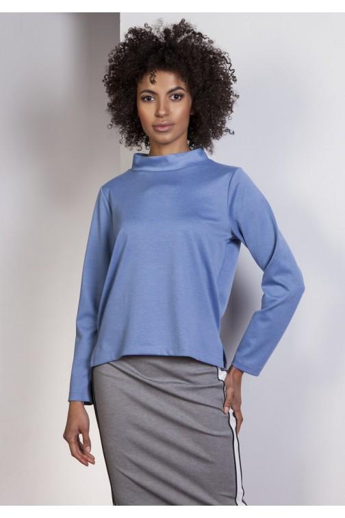 CM3632 Asymetryczna bluza ze stójką - niebieska