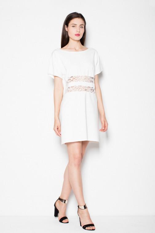 Skromna sukienka z koronkowymi wstawkami - ecru