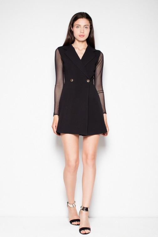 CM2966 Zapinana sukienka żakietowa - czarna