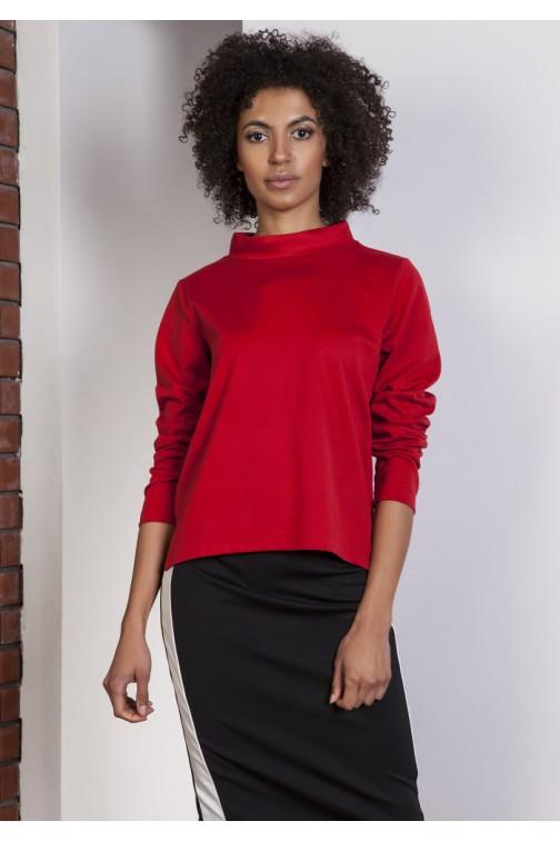 CM3632 Asymetryczna bluza ze stójką - czerwona