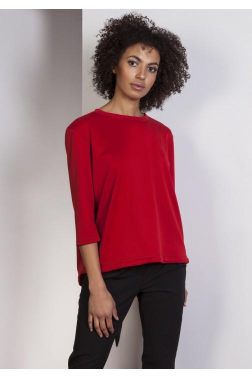 CM3646 Luźna bluzka typu frak z rękawem 3/4 - czerwona
