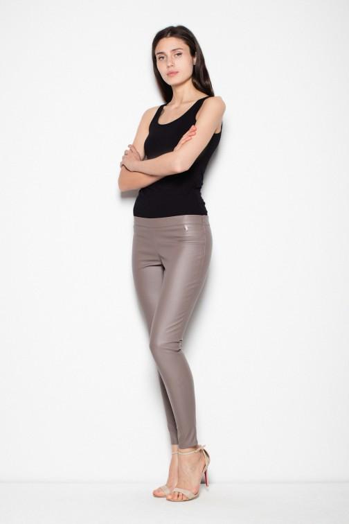 Eleganckie spodnie skórzane - beżowe