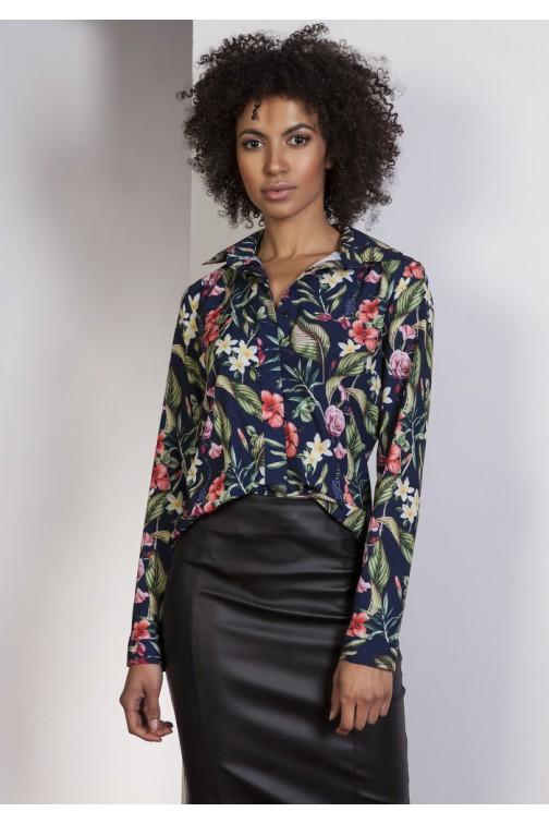 CM0771 LANTI K101 Klasyczna koszula damska z krytymi guzikami - kwiaty