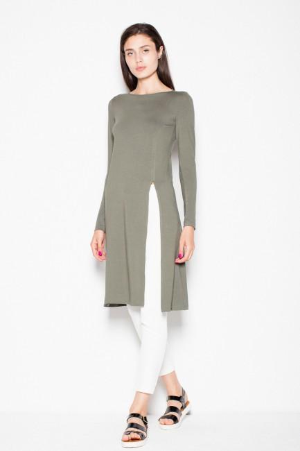 Stylowa bluzka z długim rękawem - oliwkowa