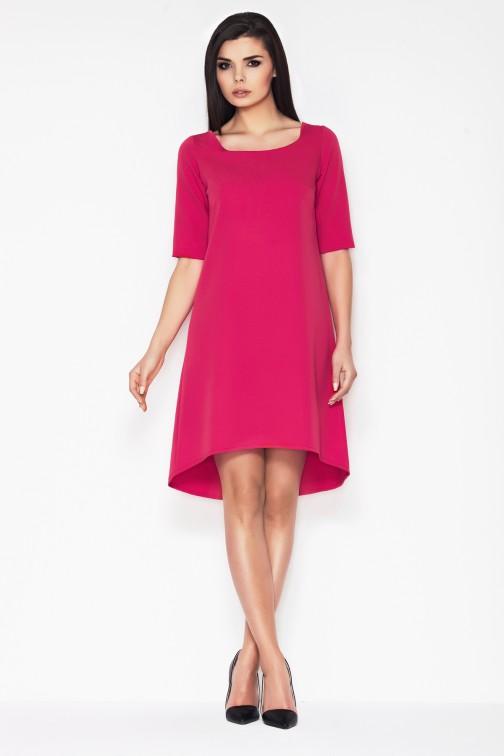 CM0891 AWAMA A56 Asymetryczna sukienka w fasonie litery A - różowa