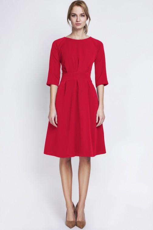 CM2066 Dopasowana w talii sukienka damska - czerwona