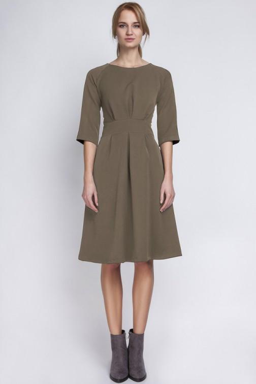 CM2066 Dopasowana w talii sukienka damska - khaki