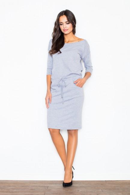 FIGL M203 Bawełniana sukienka w sportowym stylu - szara