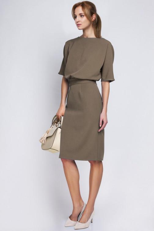 CM2067 Sukienka mini z luźną górą - khaki