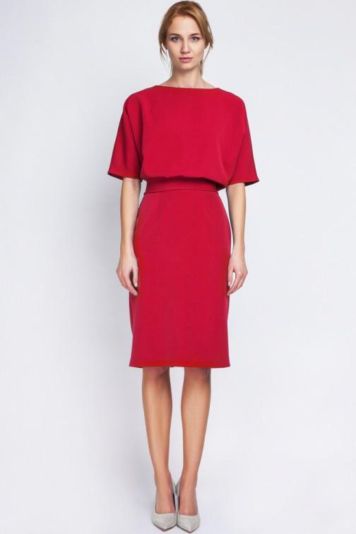 CM2067 Sukienka mini z luźną górą - czerwona