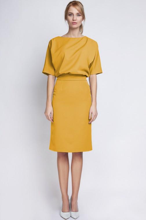CM2067 Sukienka mini z luźną górą - musztardowa