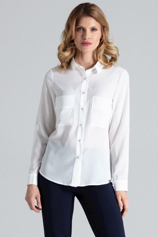 CM1775 Zapinana na napy koszula damska z długim rękawem - ecru