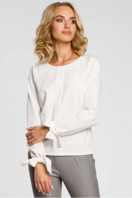 Bluzka z plisą i wiązanymi mankietami - ecru