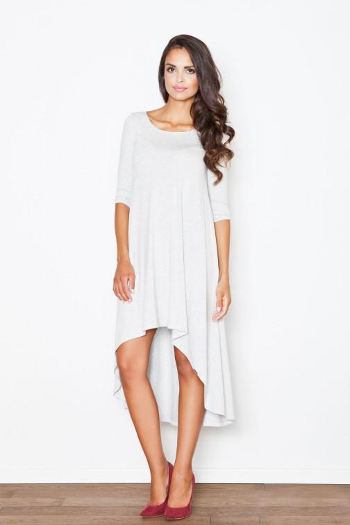 CM2085 Asymetryczna sukienka z fałdami - szara