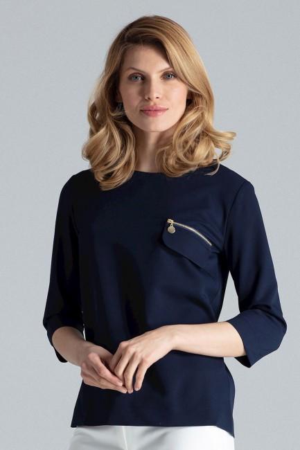 Stylowa bluzka z zamkiem na piersi - granatowa