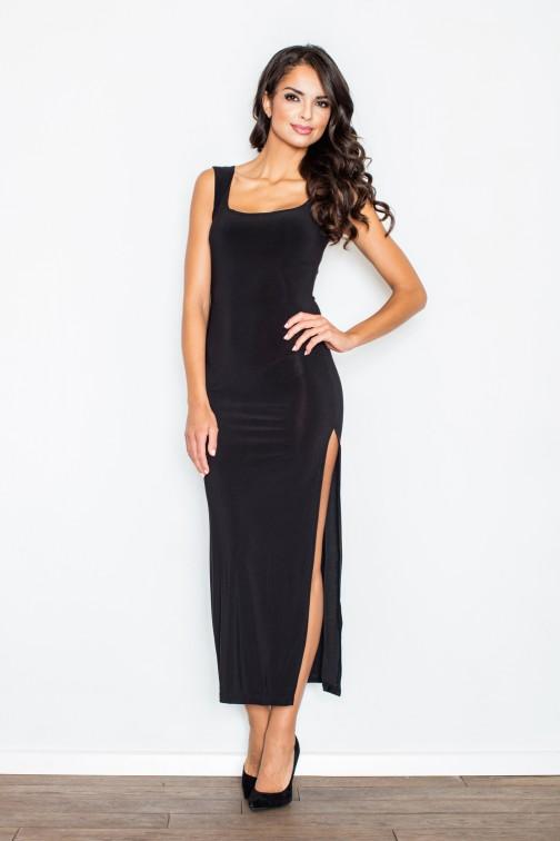 CM2107 Dopasowana sukienka wieczorowa z rozcięciem - czarna