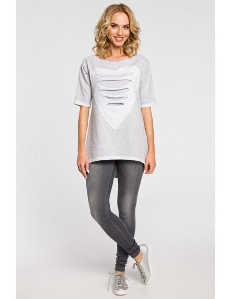 Dresowa bluza tunika serce - szara