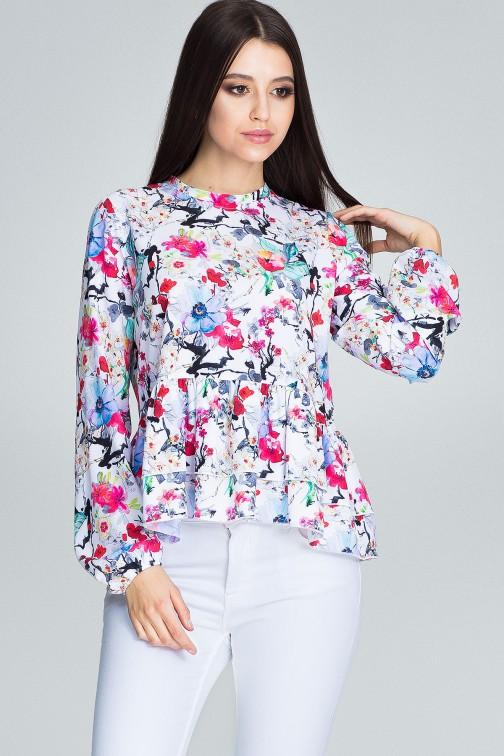 CM3660 Luźna bluzka w kwiaty - wzór 78