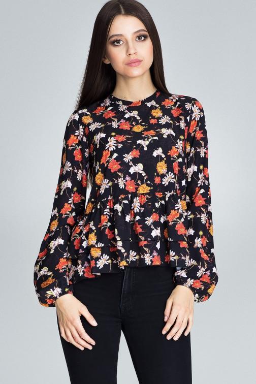 CM3660 Luźna bluzka w kwiaty - wzór 82